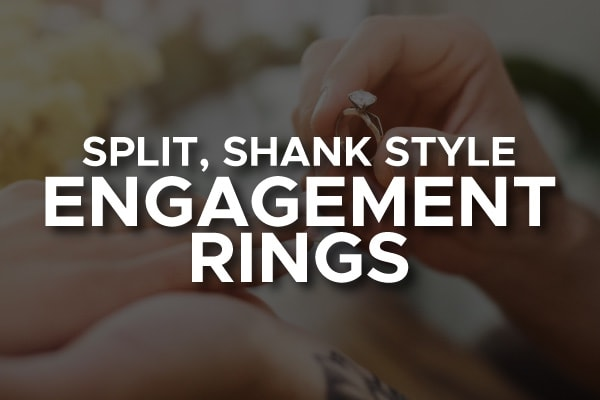 "A man proposing with the words, ""split shank style engagement ring."""