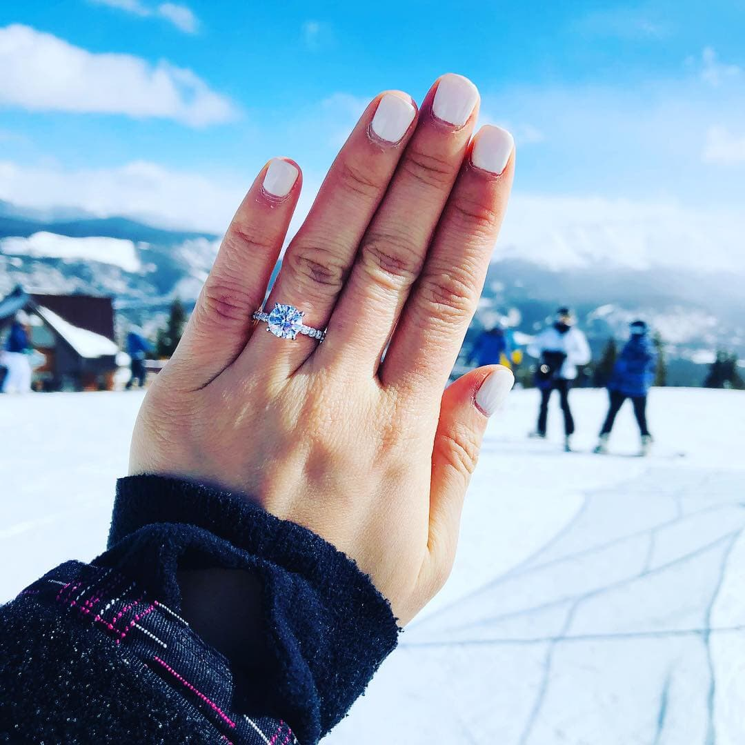 engagement ring on the slopes
