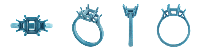 Wax molds CAD design of a ring from different angles