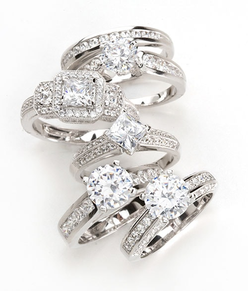 A group of contemporary diamond rings.